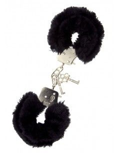 BLACK METAL HANDCUFF W. PLUSH