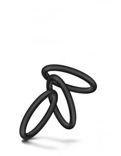 VS3 COCK RING SET LARGE BLACK