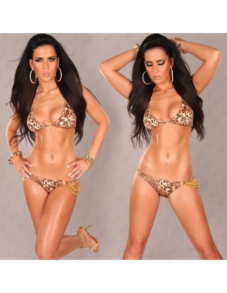 Sexy Bikini with Chain and Perles Leo
