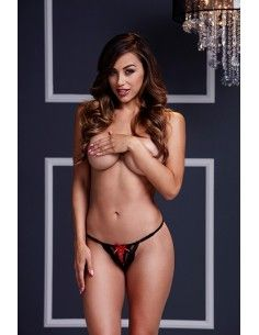 BLACK LACE UP PANTY RED RIBBON